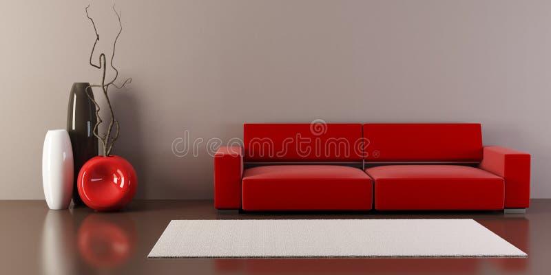 Sitio del salón con el sofá y los floreros stock de ilustración