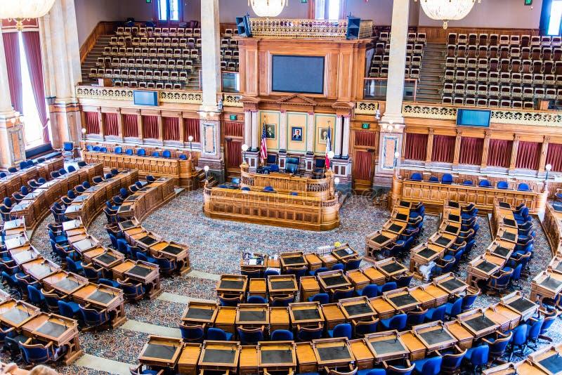 Sitio del senado del capitolio del estado de Des Moines Iowa imagen de archivo libre de regalías