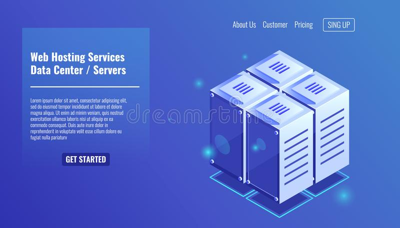 Sitio del servidor, icono isométrico del estante, servicios de recibimiento del sitio web, vector del concepto del datacenter libre illustration