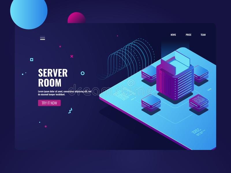 Sitio del servidor, la informática grande, proceso de la explotación minera del cryptocurrency, datacenter y concepto de la base  libre illustration
