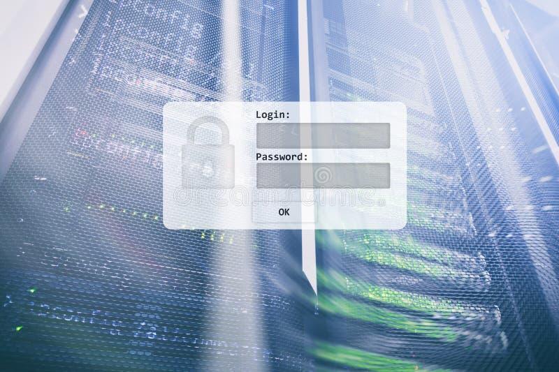 Sitio del servidor, petición del inicio de sesión y de la contraseña, acceso a datos y seguridad stock de ilustración