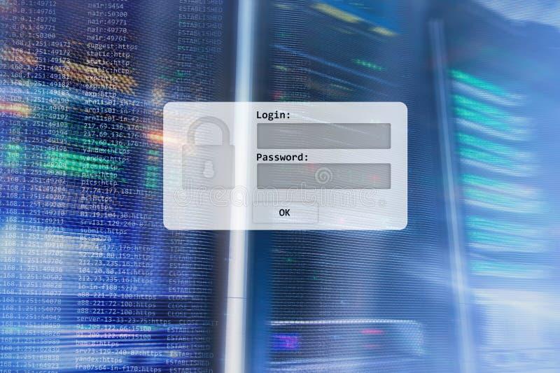 Sitio del servidor, petición del inicio de sesión y de la contraseña, acceso a datos y seguridad ilustración del vector