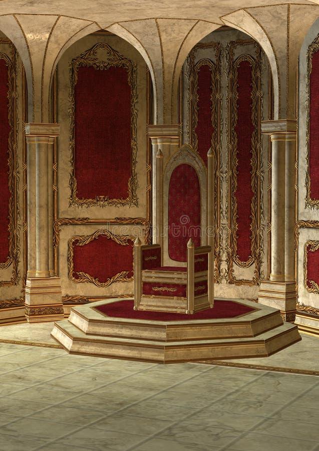 Sitio del trono del cuento de hadas ilustración del vector