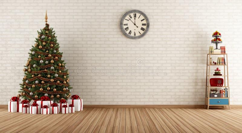 Sitio del vintage con el árbol de navidad libre illustration