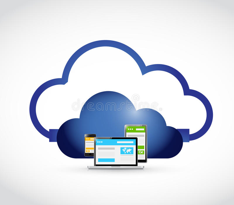 sitio del web y conexión responsivos de la nube stock de ilustración