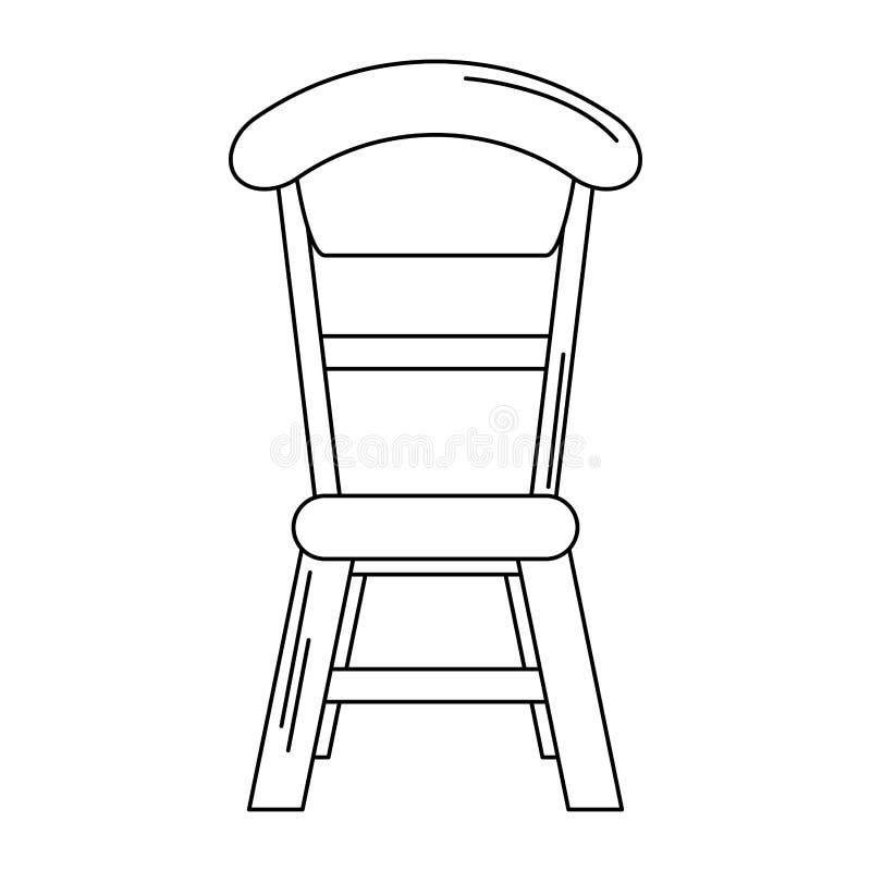 Sitio dinning de la silla de madera aislado en blanco y negro stock de ilustración