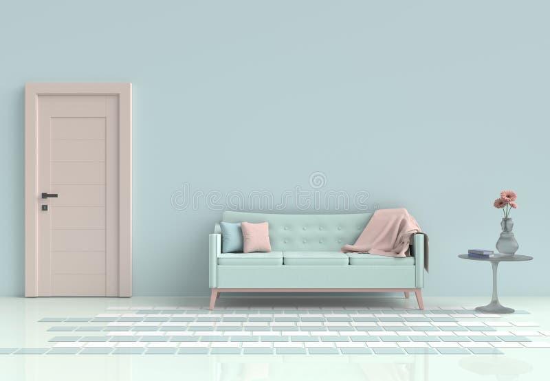Sitio en colores pastel adornado con el sofá verde claro imágenes de archivo libres de regalías