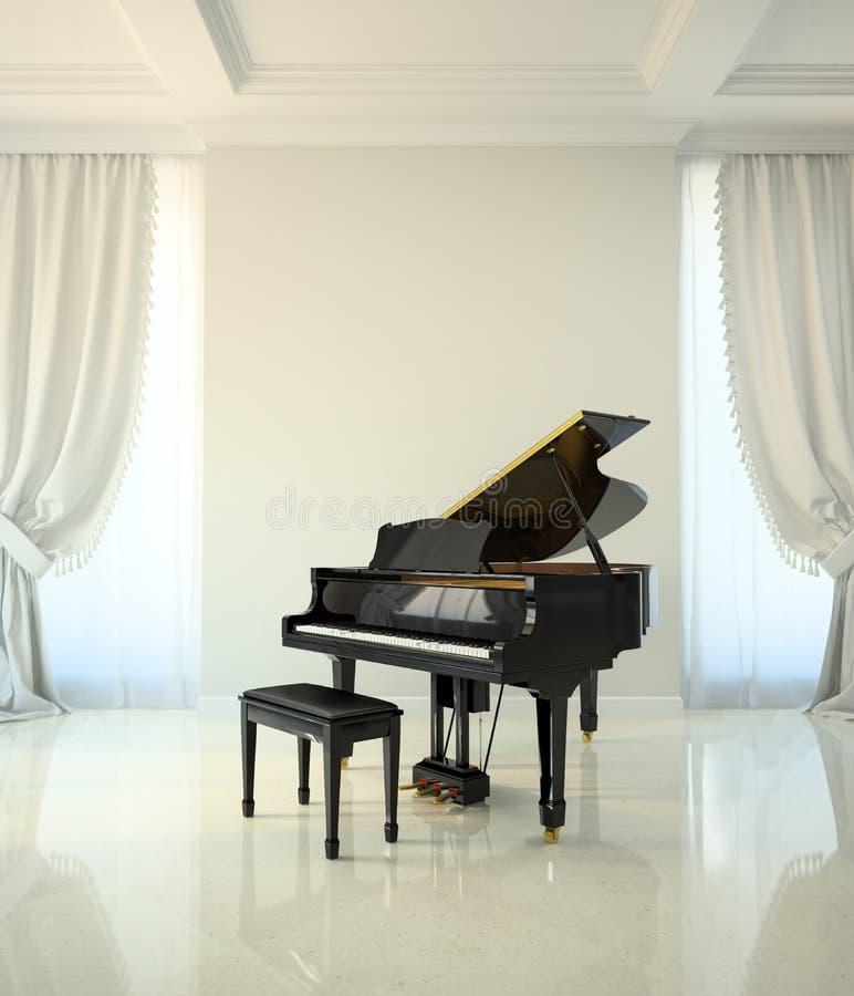 Sitio en estilo clásico con el piano negro stock de ilustración