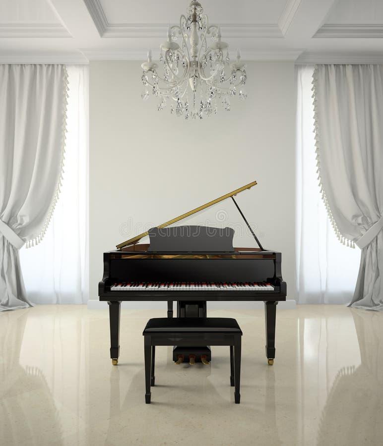 Sitio en estilo clásico con el piano y la representación más chandlier 3D ilustración del vector