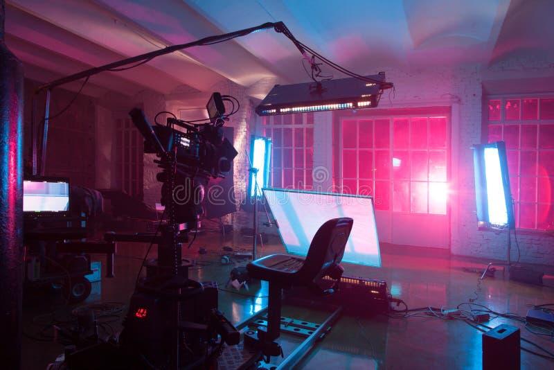 Sitio con el equipo para una película imagen de archivo