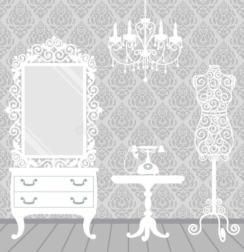 Sitio en vendimia, estilo de la mujer del gabinete de señora stock de ilustración