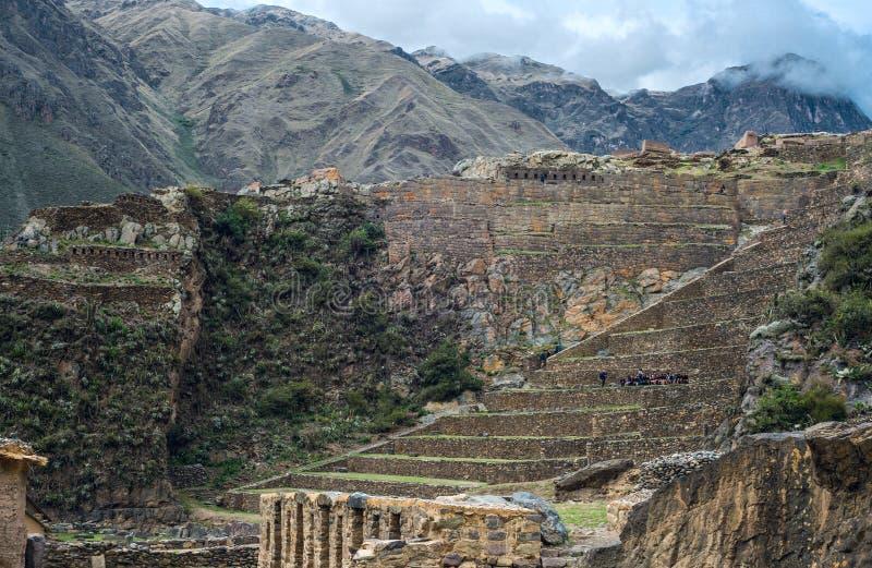 Sitio famoso del inca de Ollantaytambo, Perú foto de archivo libre de regalías
