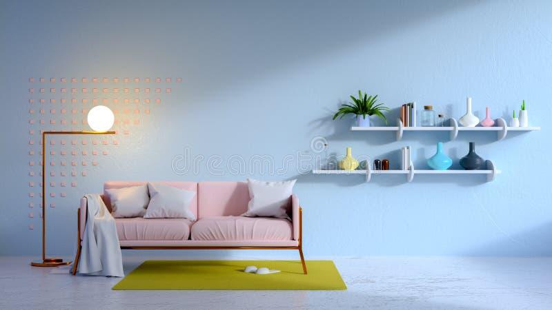 Sitio interior, azul de la sala de estar del vintage y sofá rosado 3d rinden ilustración del vector