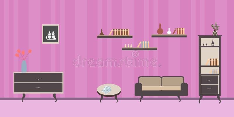 Sitio interior con el sofá la pared rosada rayada rayada stock de ilustración