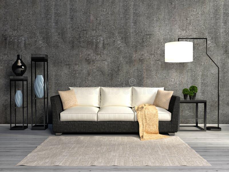 Sitio interior con el sofá y la lámpara ilustración 3D ilustración del vector