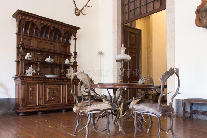 Sitio interior de la caza del vintage Castillo viejo fotografía de archivo libre de regalías