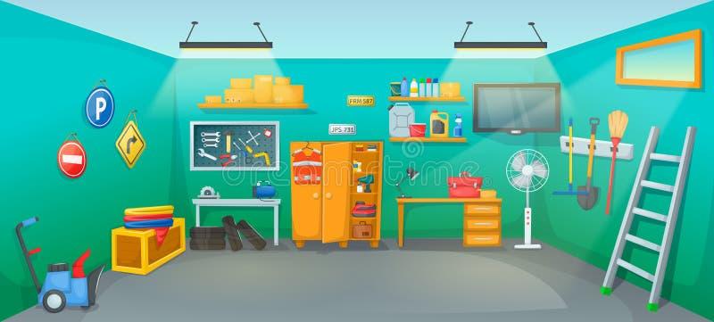 Sitio interior del garaje con el equipo del inventario de los muebles de las herramientas stock de ilustración