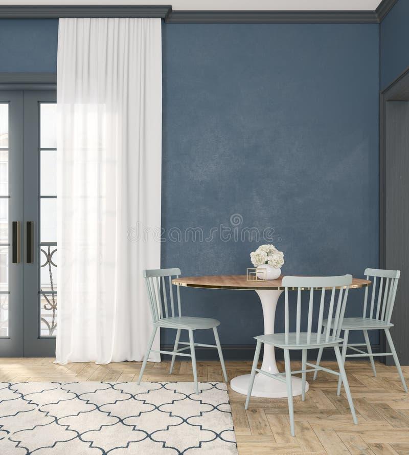 Sitio interior vacío azul clásico con la tabla de cena, las sillas, la cortina, el piso de madera y las flores imágenes de archivo libres de regalías