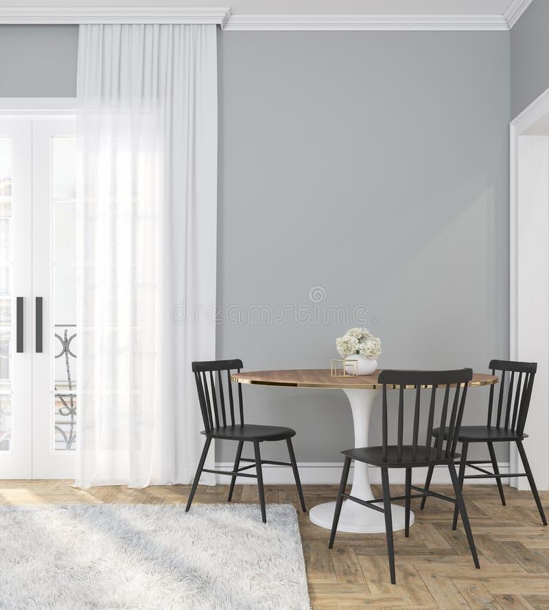 Sitio interior vacío gris clásico con la tabla de cena, las sillas, la cortina, el piso de madera y las flores 3d rinden la ilust imagen de archivo
