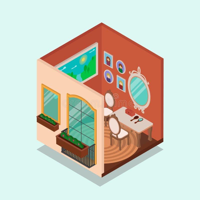 Sitio interior y exterior isométrico de una casa ilustración del vector