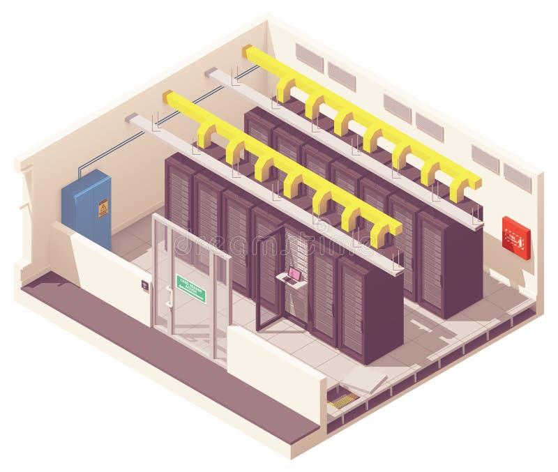 Sitio isométrico del servidor del vector stock de ilustración