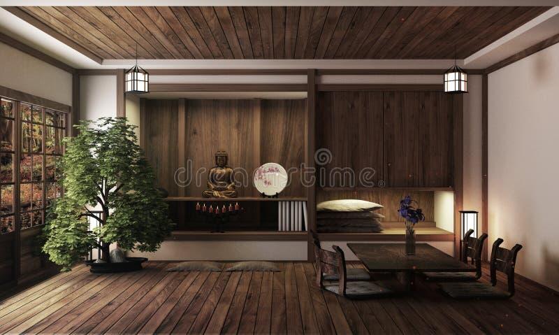 Sitio japonés, estilo del zen de Kyoto representaci?n 3d libre illustration
