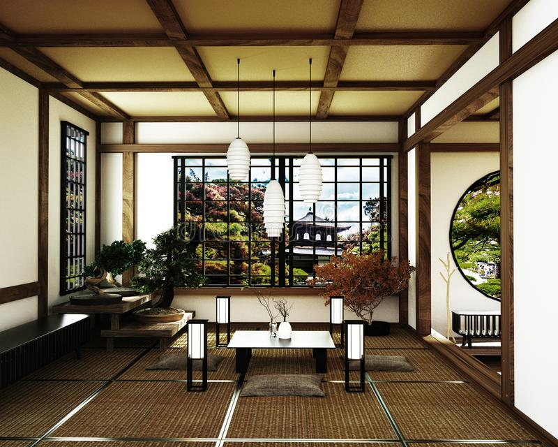 Sitio japonés, estilo del zen de Kyoto representaci?n 3d stock de ilustración