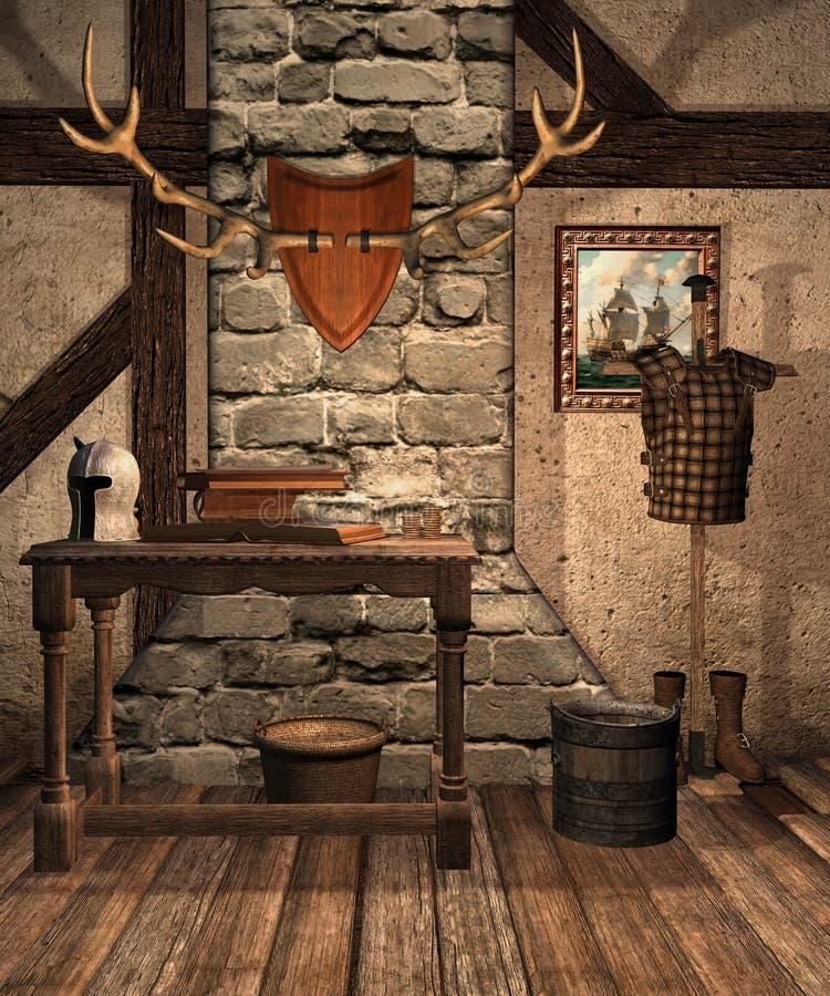 Sitio medieval con los viejos objetos libre illustration