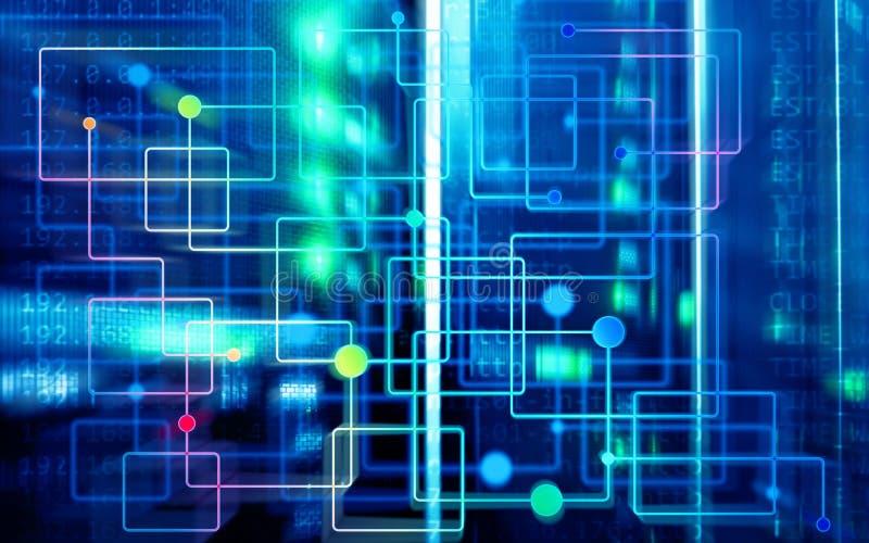 Sitio moderno abstracto borroso del centro de datos Concepto electr?nico de la tecnolog?a del hardware Fondo de la tecnolog?a de  foto de archivo libre de regalías