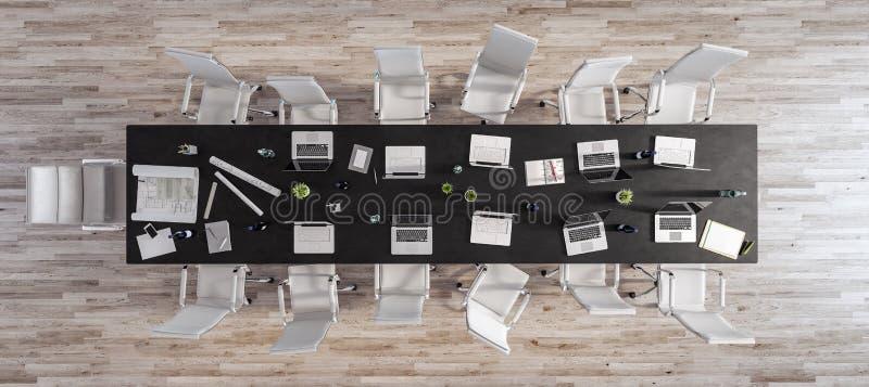 Sitio moderno de la oficina de la visión superior, fondo de madera 3d del piso rendir imagen de archivo