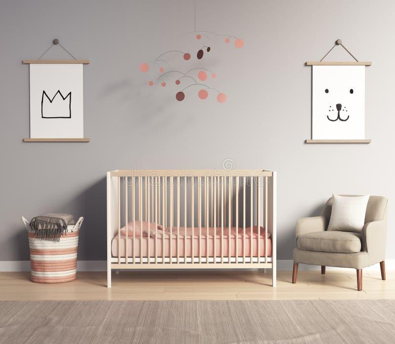 Sitio moderno del cuarto de niños con los acentos rojos y grises de color salmón fotos de archivo libres de regalías