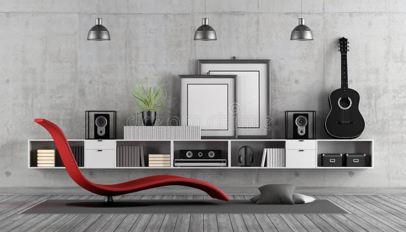 Sitio moderno a la música que escucha stock de ilustración