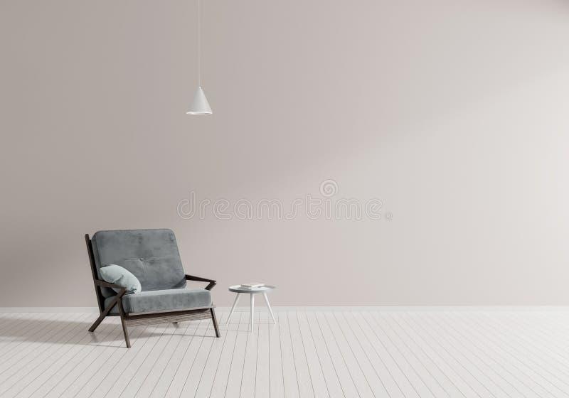 Sitio moderno minimalista con la butaca Diseño interior del estilo escandinavo ilustración 3D fotos de archivo libres de regalías