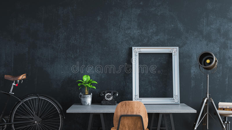Sitio negro adornado en estilo del vintage stock de ilustración