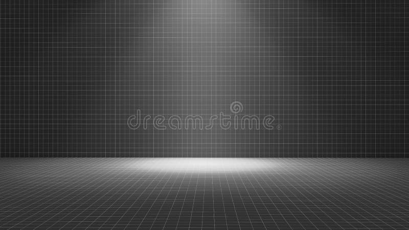 Sitio negro con un proyector, fondo del modelo de la textura, 3d de la teja ilustración del vector