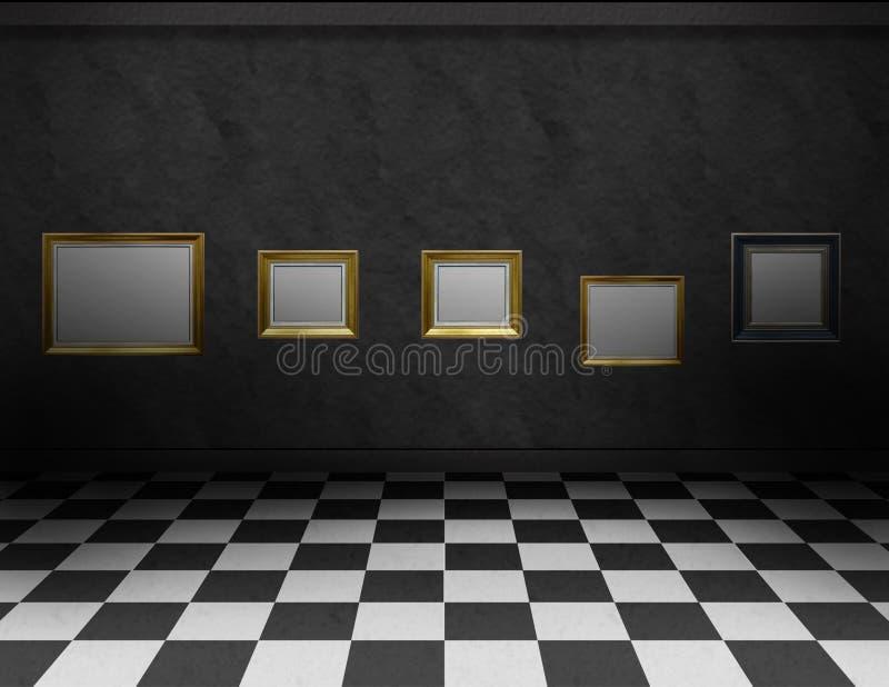Sitio oscuro con los marcos y el piso blanco y negro libre illustration