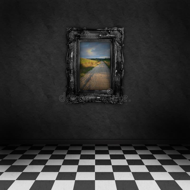 Sitio oscuro con un cuadro colorido en la pared stock de ilustración