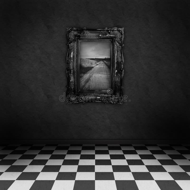 Sitio oscuro, psicodélico con una pintura en la pared ilustración del vector
