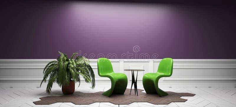 Sitio púrpura - diseño interior del sitio vacío representaci?n 3d stock de ilustración