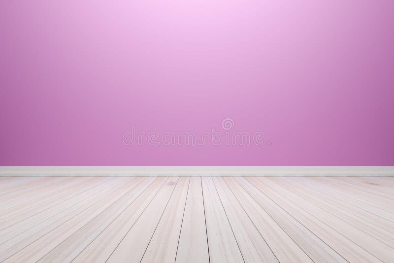 Sitio purpúreo claro interior vacío con el piso de madera, para la exhibición stock de ilustración