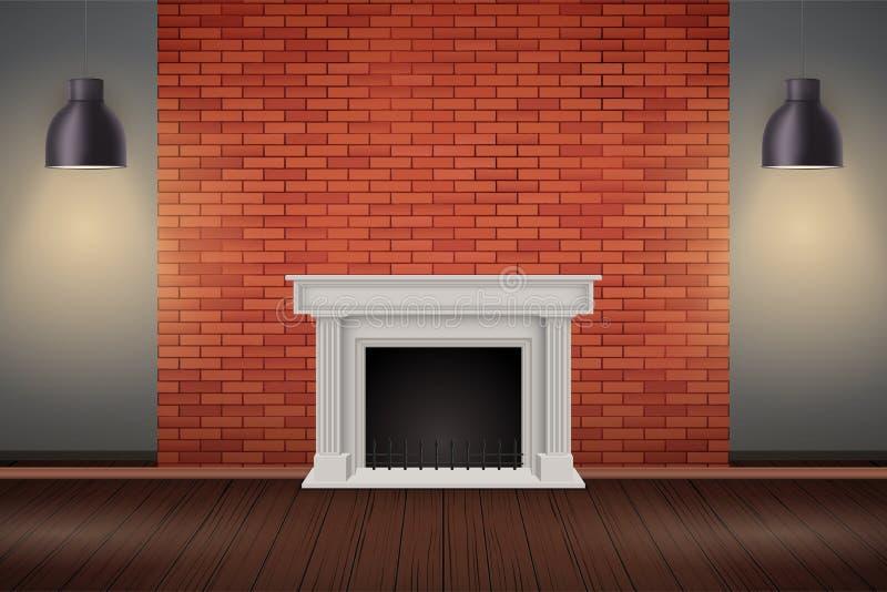 Sitio rojo de la pared de ladrillo con la chimenea stock de ilustración