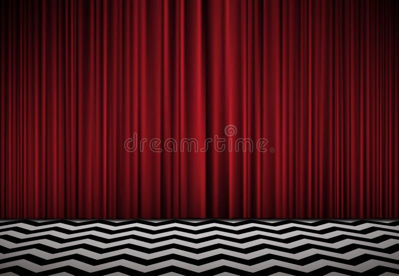 Sitio rojo fondo con las cortinas rojas del terciopelo y el piso blanco y negro stock de ilustración