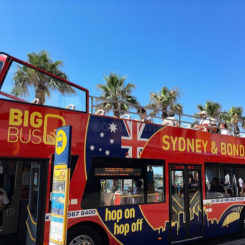 Sitio rojo que ve el autobús, Sydney, Australia foto de archivo libre de regalías