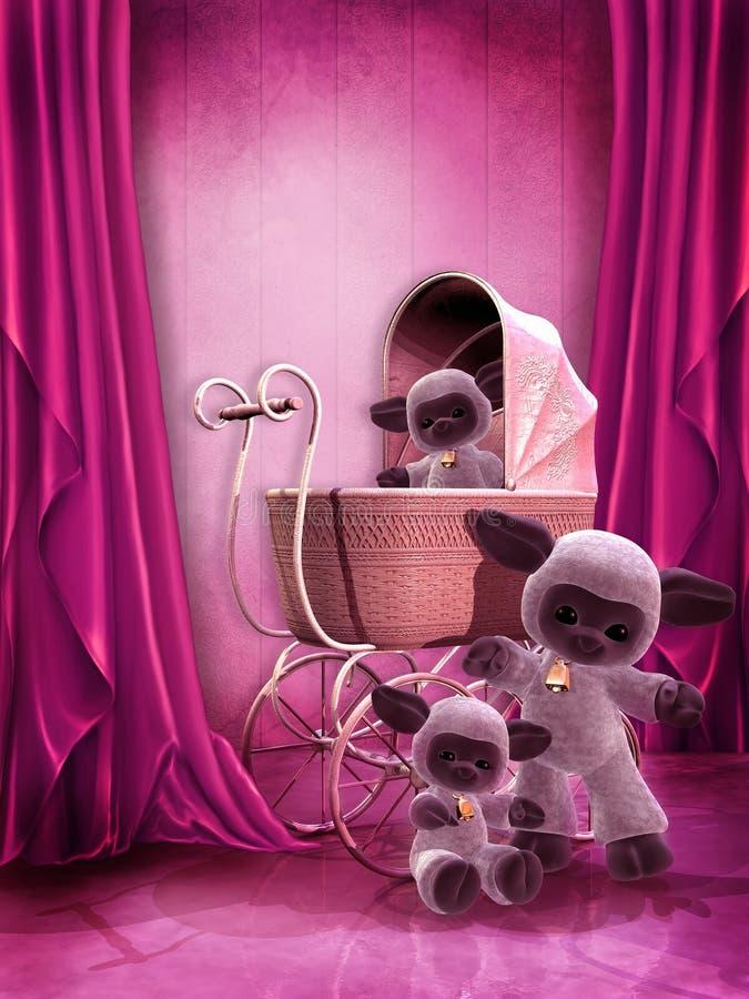 Sitio rosado con los juguetes de la felpa ilustración del vector