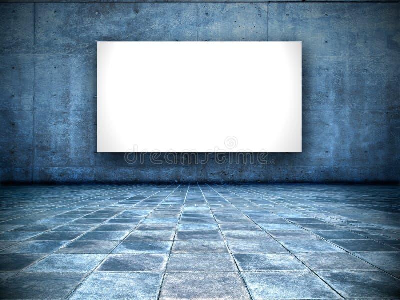 Sitio sucio con la pantalla blanca en blanco fotografía de archivo libre de regalías