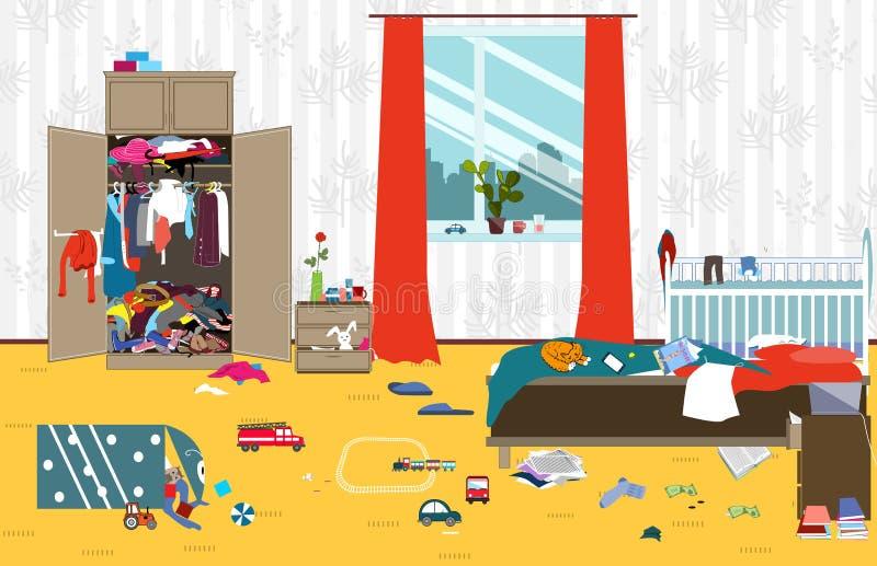 Sitio sucio en donde vive la familia joven con el pequeño bebé Sitio desordenado Lío de la historieta en el cuarto Juguetes dispe libre illustration