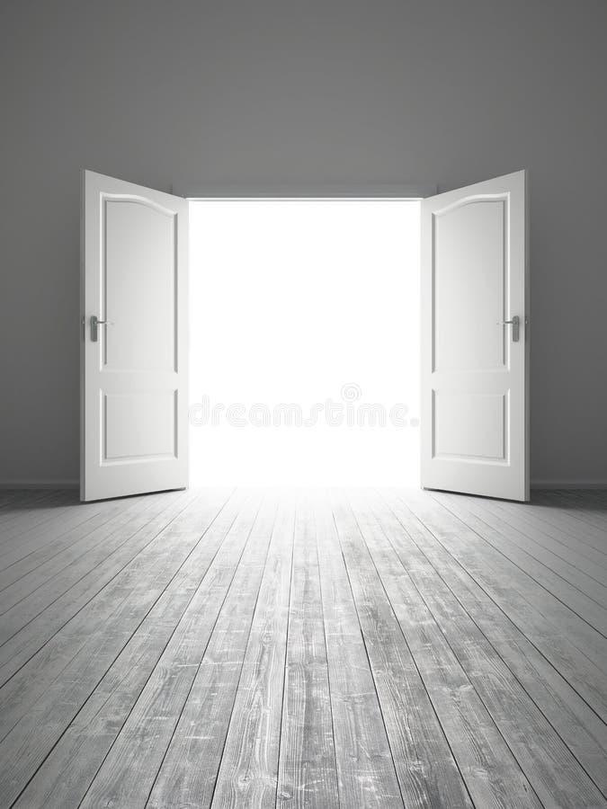 Sitio vacío blanco con la puerta abierta stock de ilustración