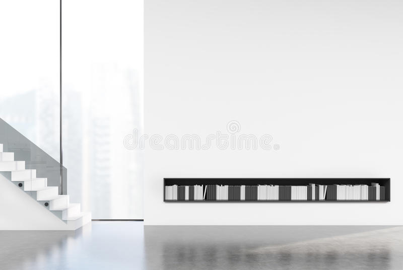 Sitio vacío blanco con una escalera, libros stock de ilustración