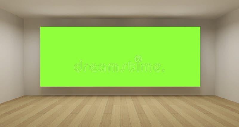 Sitio vacío con el contexto verde del clave de la croma ilustración del vector