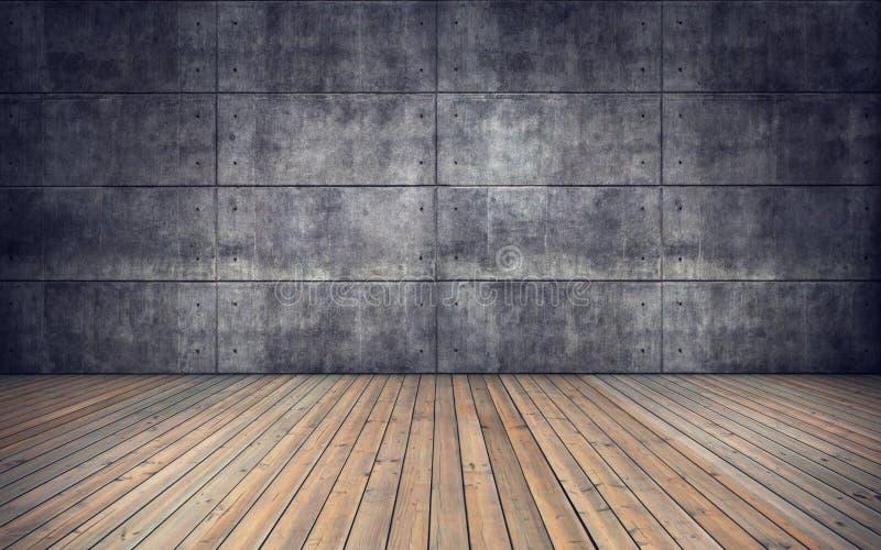 Sitio vacío con el piso de madera y la pared de las tejas concretas stock de ilustración
